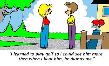Woman Golfing Cartoon